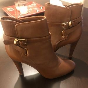 Brown Leather Tory Burch Booties